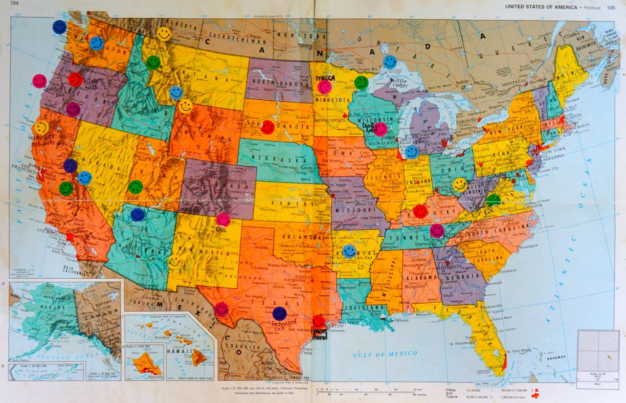 Hiking - Us map with national and state parks